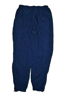 Vintage Nike Track Pants Mens Size L Blue Jogger Cuff Nylon Swish Warm Up 90s