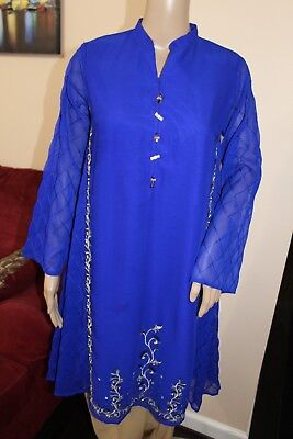 - Royal Blue Pakistani Chiffon Kurta Embroidery, Thread work,Small
