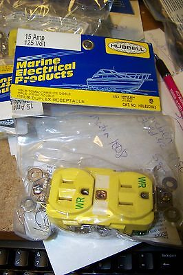 New Hubbell Hbl52cm62 Marine Straight Blade Duplex Receptacle