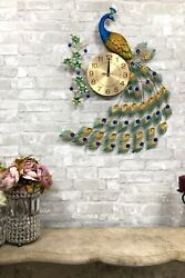 29High Large Victorian Iridescent Peacock With Colorful Gems Train Wall Clock