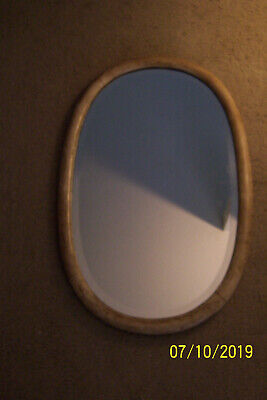 ANTIQUE BEVELED MIRROR 1900-15 W/MAPLE OVAL FRAME 28