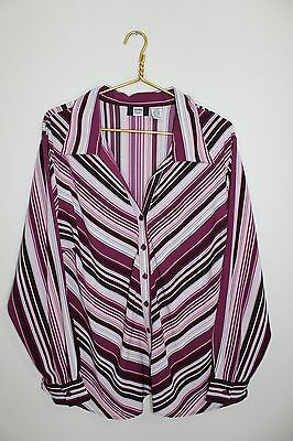 Studio 1940~Womens Size 22/24W~Stretch~Bar Code Stripe~Casual Button Front Shirt