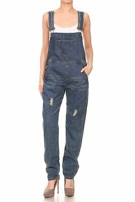 (Women Ripped Denim Jeans BIB Pants Overalls Jumpsuit Rompers Trousers With Shirt)