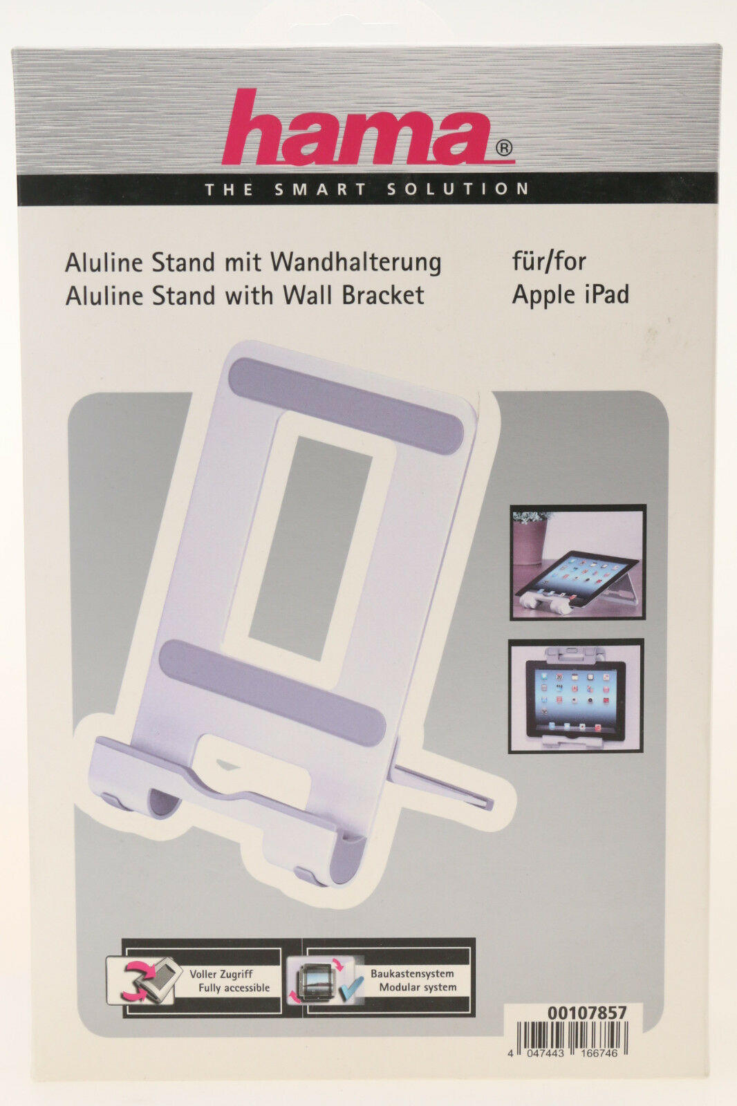 107857 Hama Alu Ständer zusätzlich Wandhalterung Funktion für Apple iPad ~ NEU