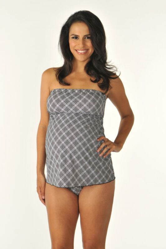 New Maternity Swimsuit Size Large NWT Tankini Prego 2-piece Strapless Print