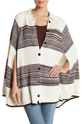 Michael Stars Women's Collar Cape Knit Poncho Jacket Sweater Cardigan Size XS S Collar Cotton Women Poncho