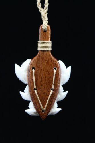 Hawaiian War Club Weapon - Genuine Koa Wood / Shark Tooth, Hand Carved Necklace