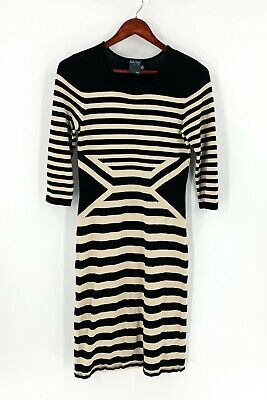 Gabby Skye Size M Medium Black & Tan Striped Sweater Dress Women's