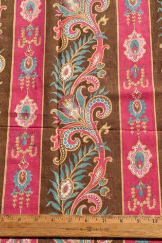 "Antique French c1870 Exotic Home Dec Cotton Stripe Fabric~L-76"" X W-30"""