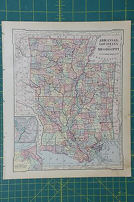 Карты мира Arkansas Louisiana MS Vintage