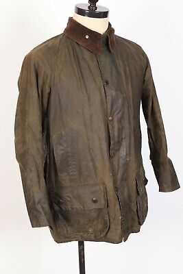 BARBOUR BEAUFORT Waxed Cotton Olive Green Coat Jacket Mens Size 40