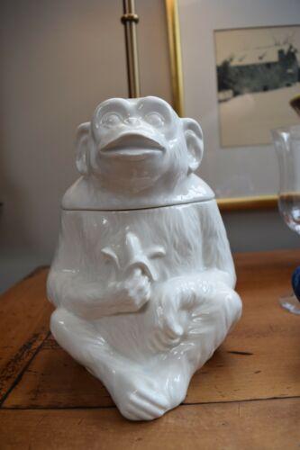 All White Vintage Fitz & Floyd Monkey Chimp Chimpanzee Cookie Jar VHTF EUC