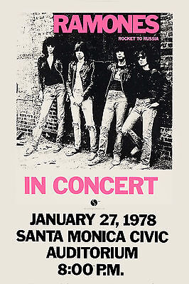 The Ramones at Santa Monica * Rocket to Russia * Tour Promo Poster  13x19