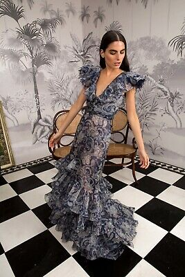 Johanna Ortiz Silk Sea Nymph Dress w/ 100% Ostrich Trim, $3,450 NWT, Size US 8