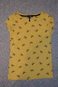 Chicas-siguiente-top-de-color-amarillo-mostaza-con-cebras-Camiseta-Edad-7-anos-122-CMS