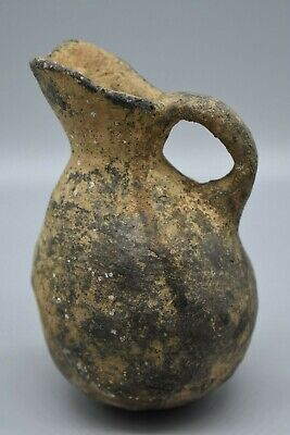 Ancient 5000+ Year Old Greek Cypriote Pottery Jug, black ware, beak spout.  RARE