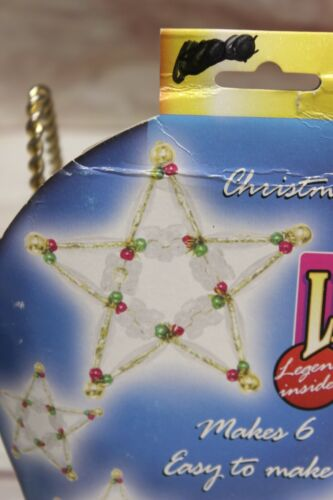 Vintage Cousin Beaded Christmas Ornament Kit 6 STARS Easy Crafts Holiday Legends
