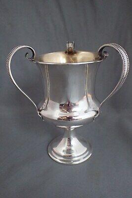 ANTIQUE SIGNED GORHAM STERLING SILVER 3 HANDLE LOVING CUP MUG TROPHY GOLD WASH