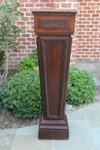 TALL Antique French Oak Pedestal Column Plant Stand Newel Bronze Display 56""