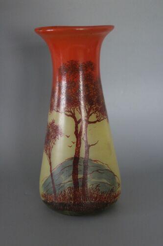 27cm French Legras Glass Vase signed Leg