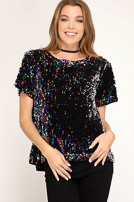 Sky Tops - Women's Short Sleeve Sequin Blouse Top w/ Lining She + Sky Sizes S, M, L New