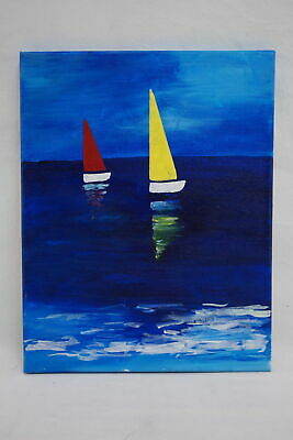 Handpainted 11 x 14 Canvas Painting of Two Sailboats at Sea Kids Room Decoration