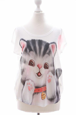TP-16 Moe Tiger Katze Cat süß Print kurzarm T-Shirt Lolita Harajuku Japan