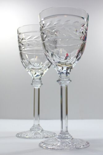 """RALPH LAUREN Claremont Crystal Water Goblets or use as 8-3/4"""" Wine Glasses - TWO"""