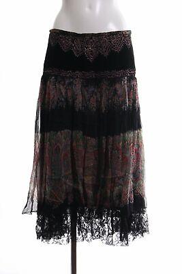 MAGIC WOMAN Stufenrock Blumenmuster Casual-Look Damen Gr. DE 40 schwarz Rock