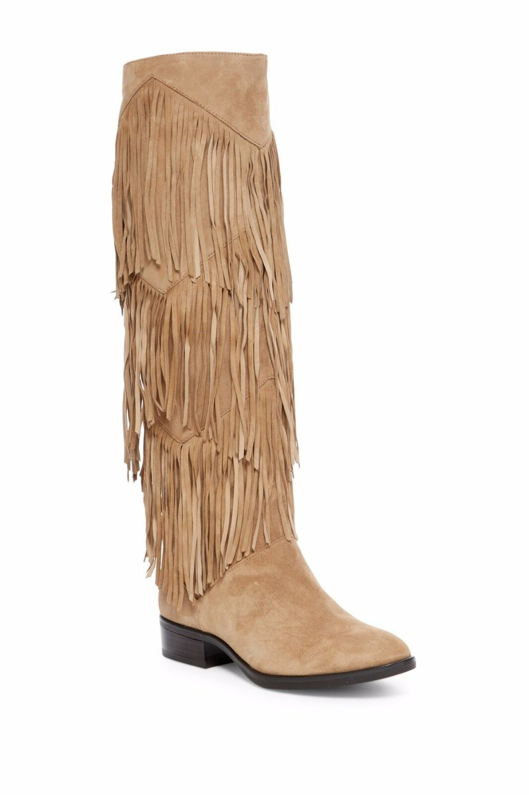Sam Edelman Riding Boots Pendra Tall Fringe Leather Suede Ta