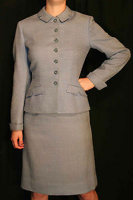 S VTG 40s 50s 2pc  DRESS SUIT 5th Ave BLUE WOOL PENCIL SKIRT NIPPED WAIST JACKET