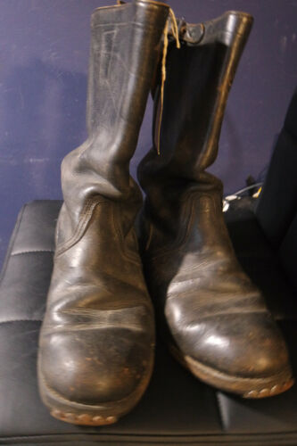 WW2 German Soldiers Combat Leather Jack Boots w/ Studs