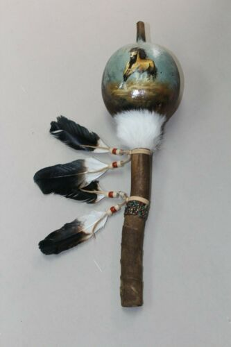 HAND PAINTED DANCE GOURD RATTLE ,CEREMONIAL ,SANTA FE ,NATURAL , NEW HORSE 1