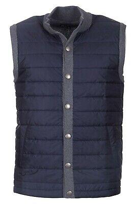 Barbour Men's Grey/Navy Essential Mixed Media Tailored Fit Gilet Snap Front Vest