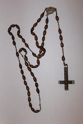 Old Light wood rosary beads with upside down crucifix,, used for sale  Shipping to South Africa
