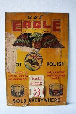 Vintage Eagle Boot Polish Advertising Tin Sign Calendar Depicting Flying Eagle#4