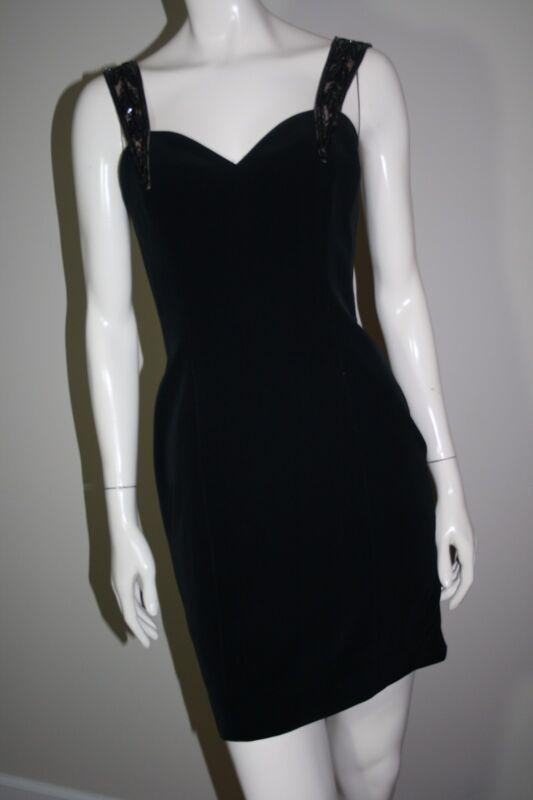 Gorgeous Oleg Cassini Black Tie Sleeveless Beaded Strap Dress Size 6
