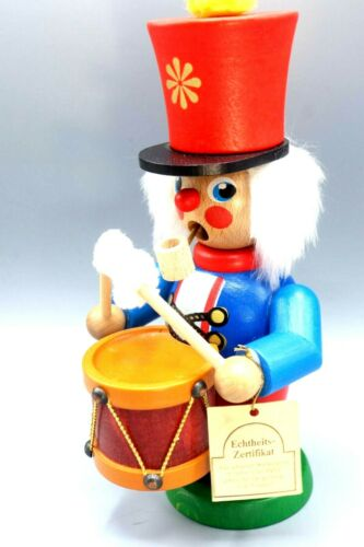 Holzkunst Christian Ulbricht Wooden Smoker Drummer Soldier Doll with Tags German