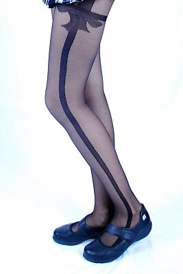 20 DENIER SHEER PATTERNED BOW TIGHTS FOR GIRLS Style ql-0160   9 - 10yrs (Sheer Tights For Girls)