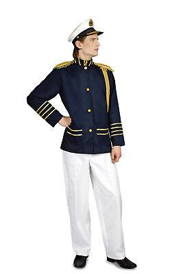 m Uniform Marine Herren inkl. Mütze blau weiß Fasching  NEU (Kapitän Kostüm Herren)