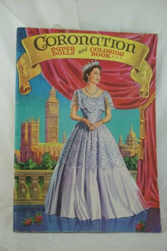 1953 Queen Elizabeth Coronation Coloring Book Paper Doll Unused Original Vintage