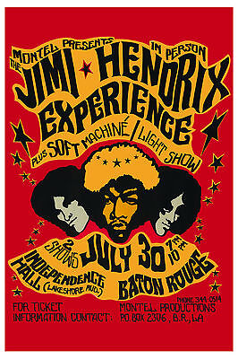 1960's Rock: Jimi Hendrix at Baton Rouge LA. Concert Poster 1968  2nd Printing