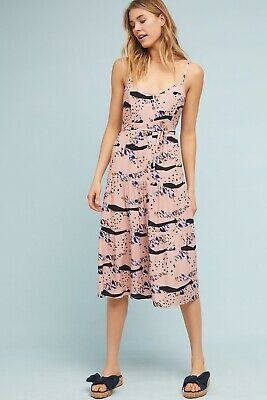 - NEW ANTHROPOLOGIE Sz LP THE ODELLS LARISSA BUTTONDOWN PRINTED MIDI DRESS