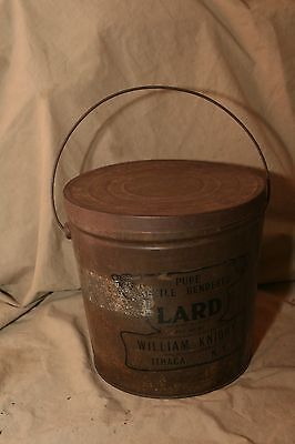 Antique Vintage Advertising Tin Lard Can Swing Bail Handle Wm Knight Ithaca NY
