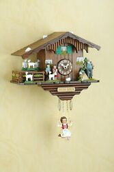 German Black Forest Swing clock Quartz movement cuckoo Turning Goats Heidi House