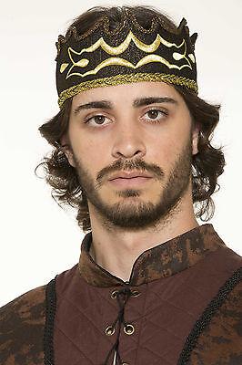 Medieval Fantasy Kings Crown Black & Gold Crown Adult Size Renaissance