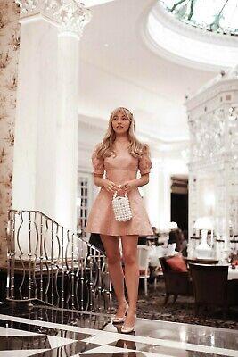 Keepsake The Label Toffee Pink Wonder Brocade puff sleeve mini dress size 6 BNWT
