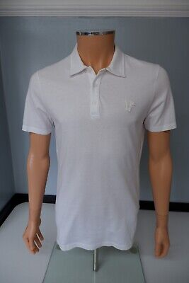 Versace Mens Polo T Shirt, Size Large, White, VGC