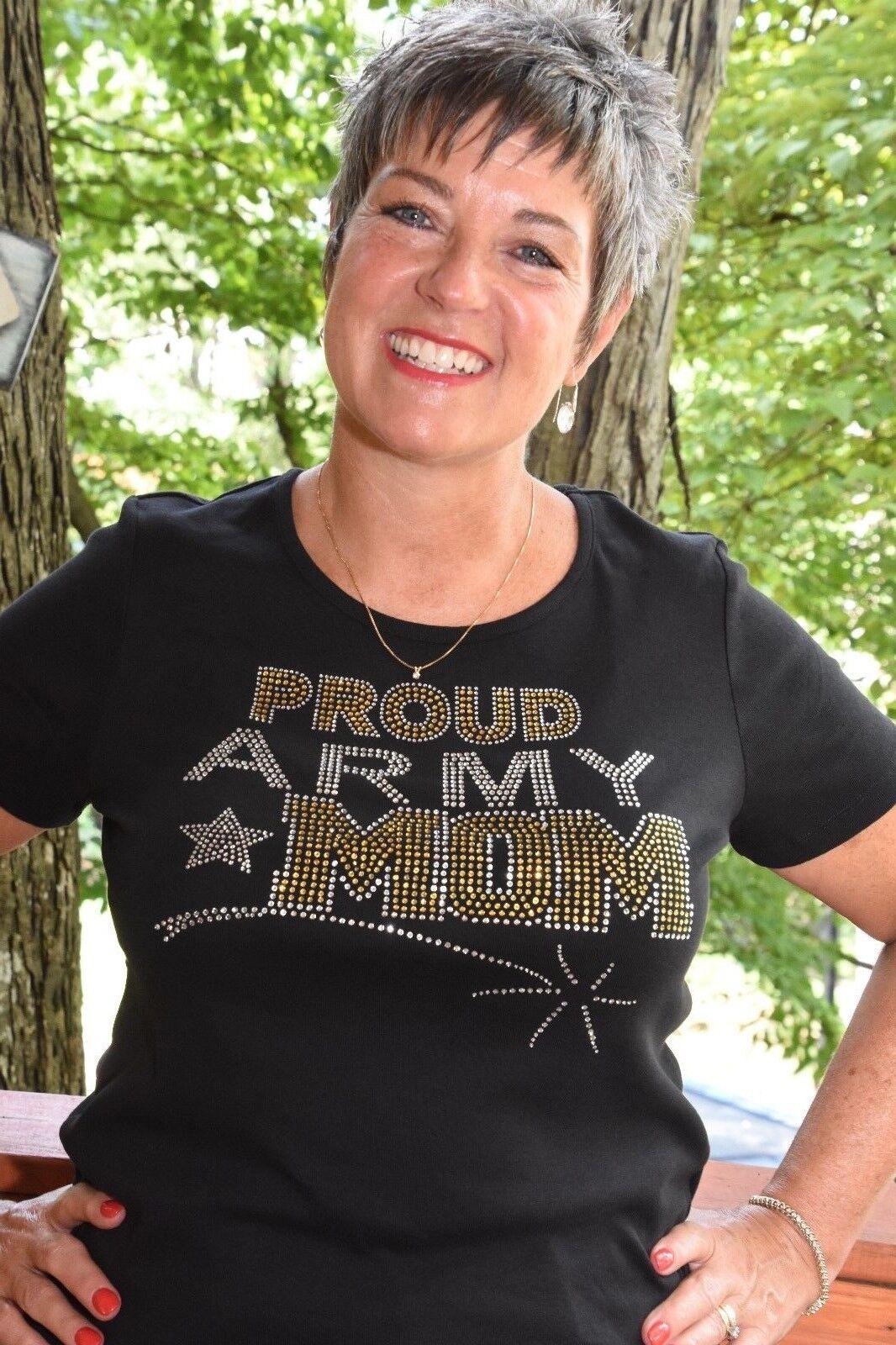 Army Mom rhinestone bling shirt XS S M L XL XXL 1X 2X 3X 4X 5X