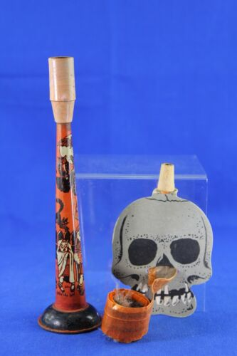 TWO VINTAGE HALLOWEEN NOISEMAKERS US METAL TIN SMALL HORN PAPER SKULL